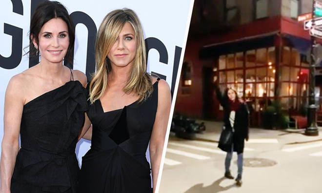 Courtney Cox returns to iconic Friends building