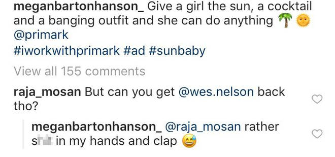 Megan Barton-Hanson responded to a comment about Wes Nelson via Instagram