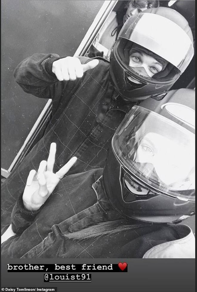 Louis Tomlinson and sister Daisy on a day out go-karting