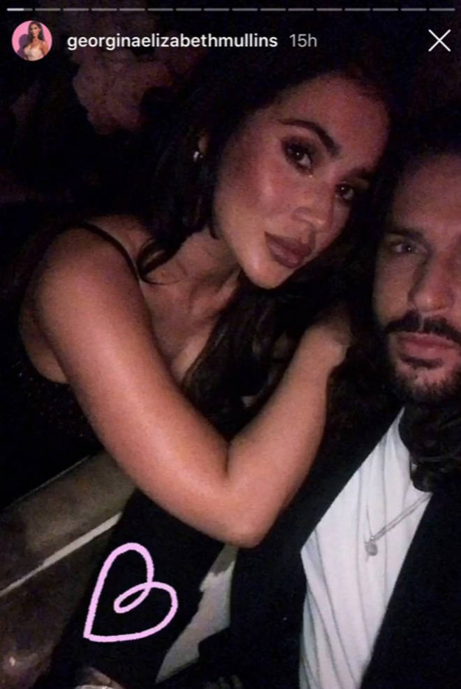 Georgina Mullins posts an Instagram story date night with Pete Wicks