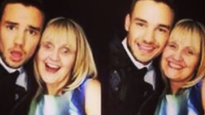 Liam Payne and mum Karen in a 1D 'This Is Us' photobooth