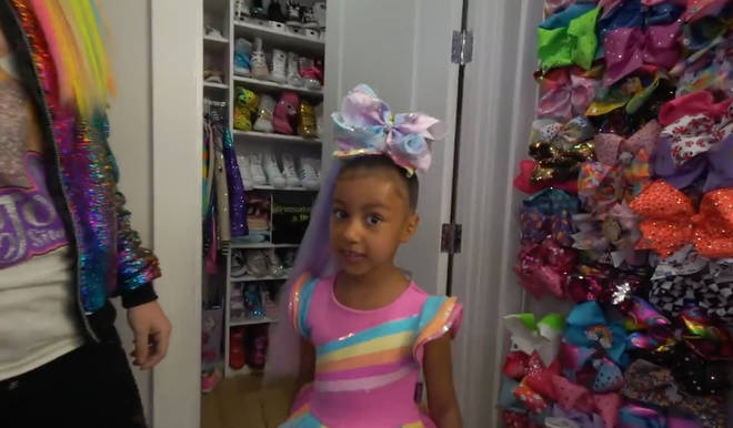 JoJo let North wear one of her many colourful hair bows