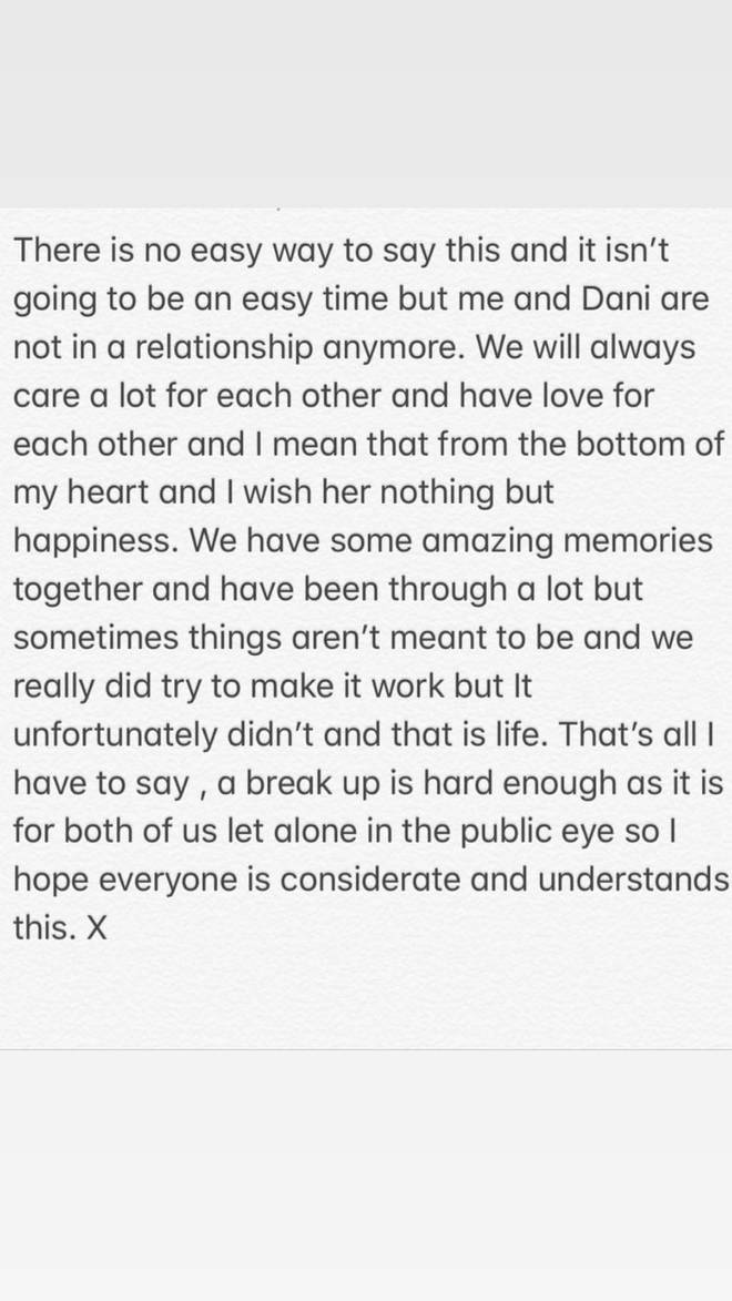 Jack Fincham posted about his split from Dani Dyer on Instagram