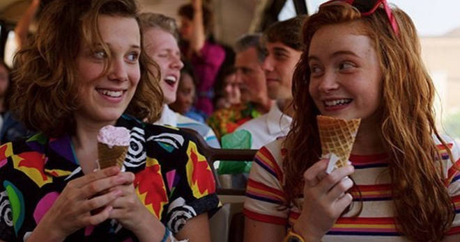 Sadie Sink and Millie Bobby Brown as Max and Eleven in Stranger Things