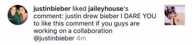 Justin Bieber liked a message hinting at a collab with Ariana Grande