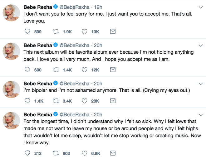 Bebe Rexha opened up about her bipolar disorder in a series of tweets