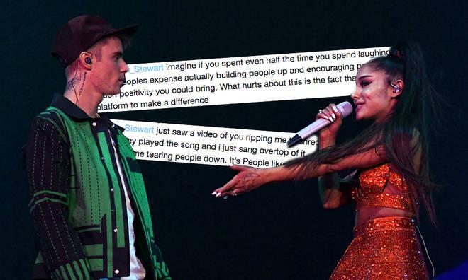 Justin Bieber lashed back at Morgan Stewart's comments
