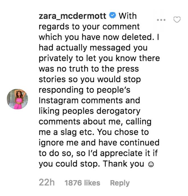 Zara McDermott commented on ex Adam Collard's Instagram upload