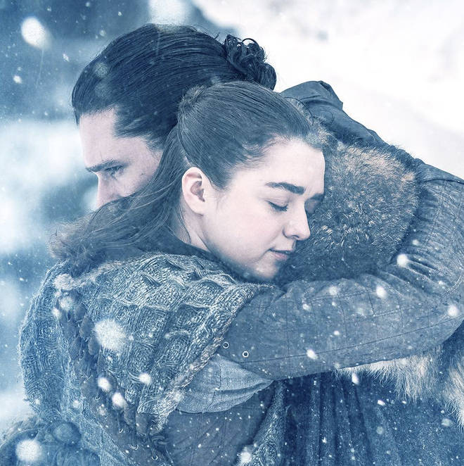 Arya Stark and Jon Snow embrace during Game Of Thrones
