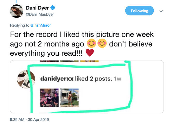 Dani Dyer is not here for claims she was liking other people's pictures whilst with Jack Fincham