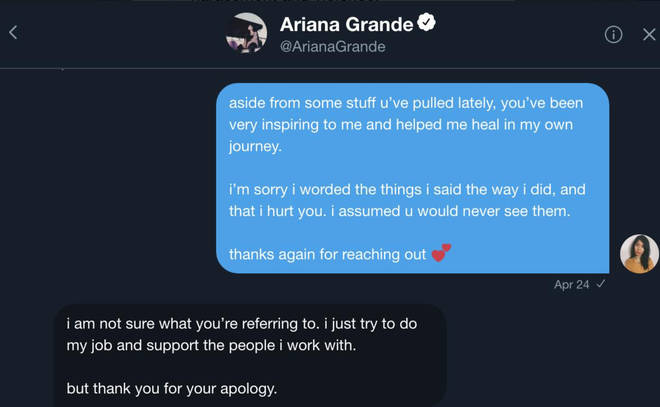 Roslyn Talusan received a direct message from Ariana after the backlash