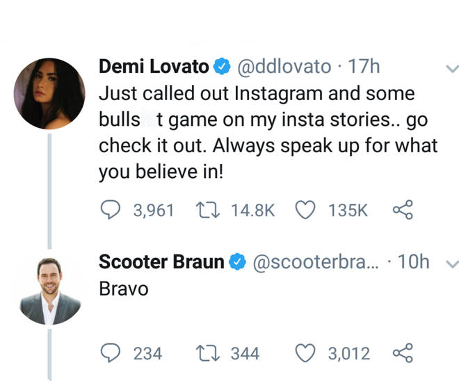 Scooter Braun replies to Demi Lovato on Twitter
