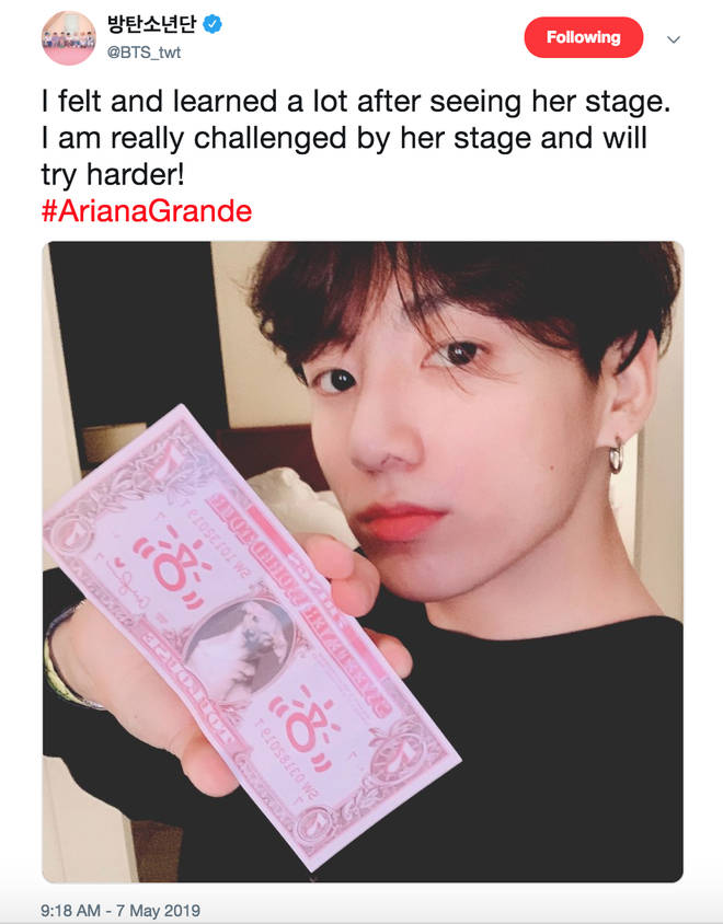 JK tweeted his excitement at seeing Ariana Grande