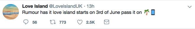 A random Love Island account tweeted the show returns on June 3rd