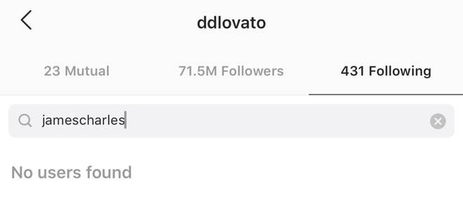 Demi Lovato is amongst those that unfollowed James Charles