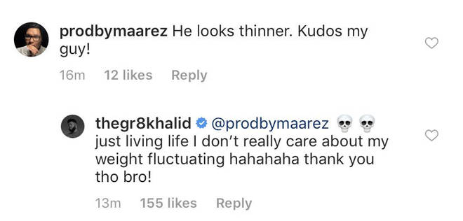 Khalid responded to a fan who commented on Instagram