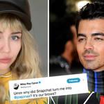 Miley Cyrus transformed into Joe Jonas thanks to Snapchat