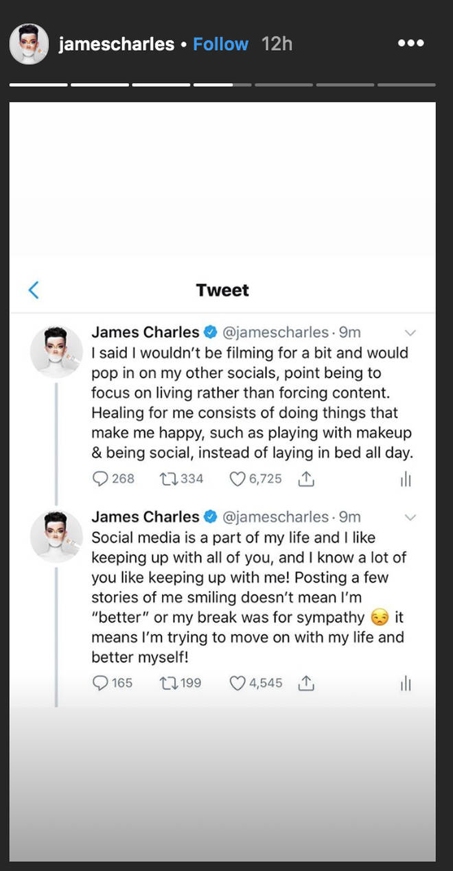 James Charles defends partying in the midst of drama with YouTuber Tati Westbrook