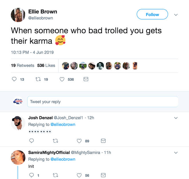 Ellie Brown calls out mystery person for getting their 'karma'