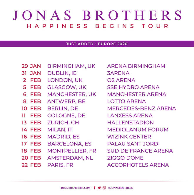 The Jonas Brothers have announced their European tour