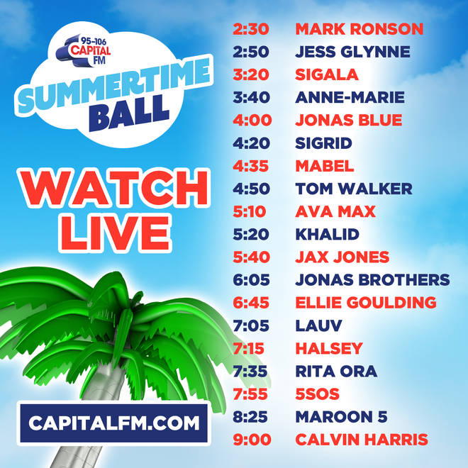 The official stage times for the 2019 Summertime Ball