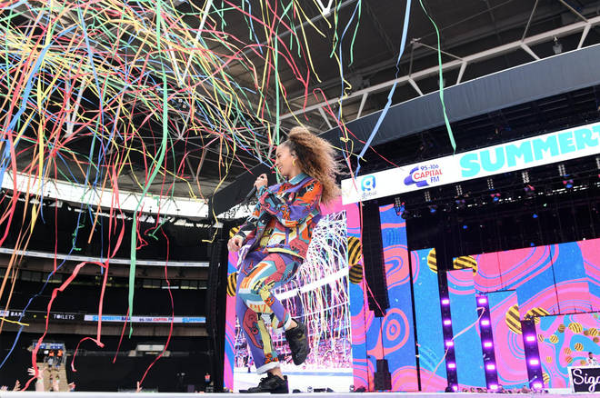 Ella Eyre performing on stage at Capital's Summertime Ball 2019