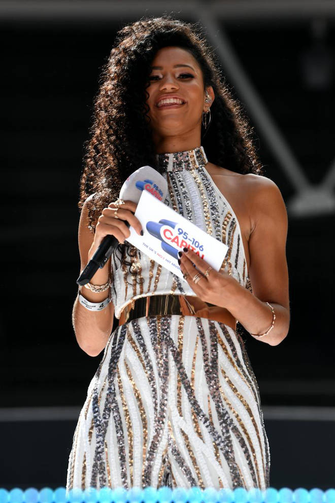 Vick Hope on stage at Capital's Summertime Ball 2019