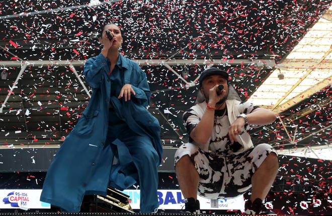Jax Jones and Raye performing on stage at Capital's Summertime Ball 2019 1