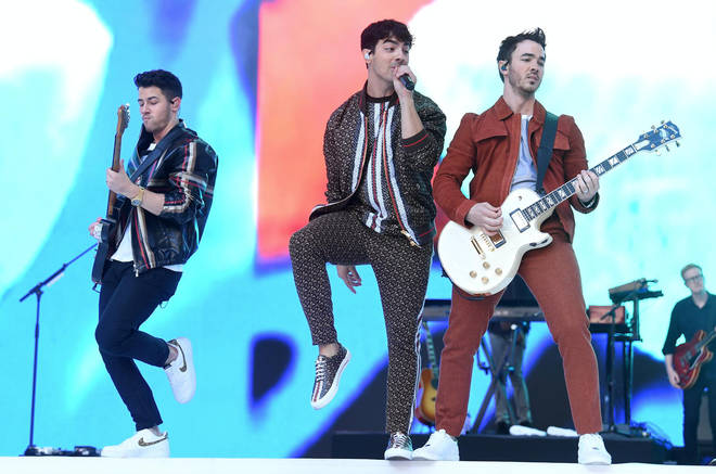 Jonas Brothers performing on stage at Capital's Summertime Ball 2019