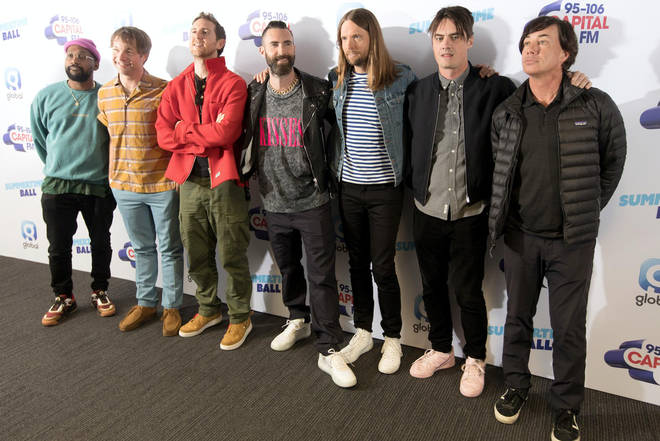 Maroon 5 on the red carpet at Capital's Summertime Ball 2019