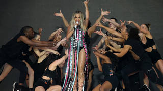 Rita Ora performing on stage at Capital's Summertime Ball 2019