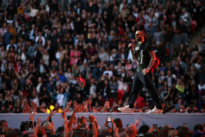 Maroon 5 performing on stage at Capital's Summertime Ball 2019