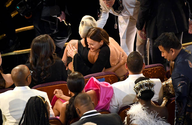 Lady Gaga and Irina Shayk were pictured hugging at The Oscars
