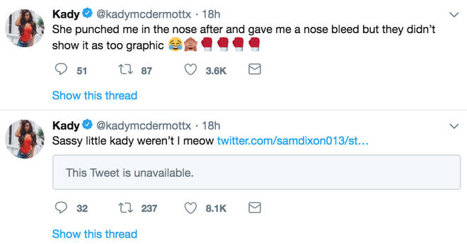 Kady McDermott told her Twitter followers she was punched in the face