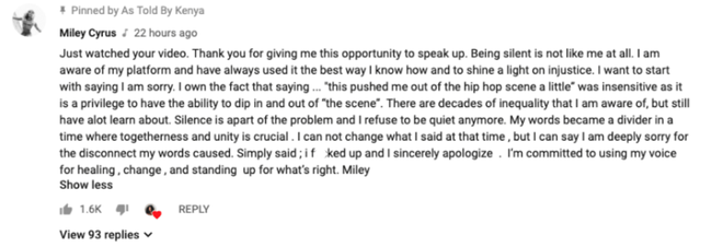 Miley Cyrus apologises in YouTube comments
