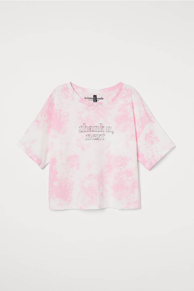 The range includes this pink and white t-shirt