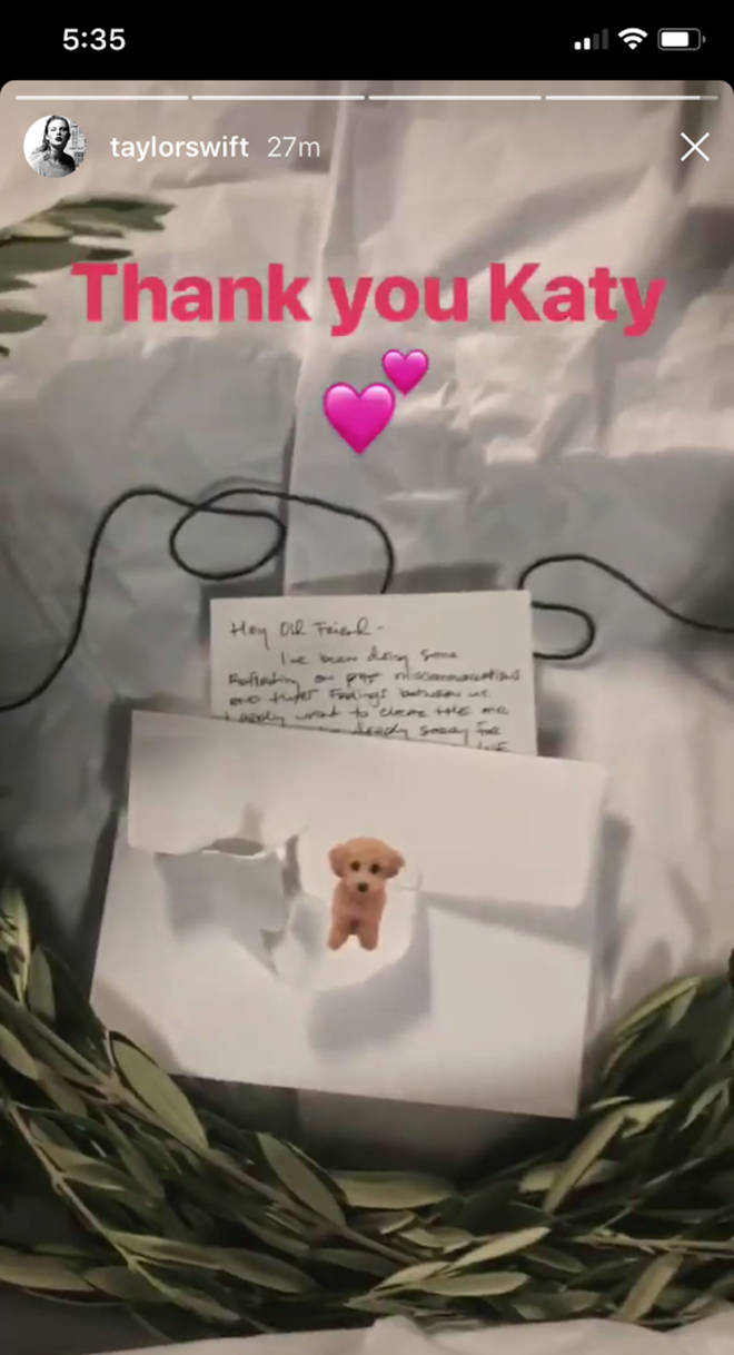 Katy Perry sends Taylor Swift an actual olive branch on her tour