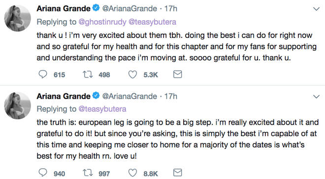 Ariana Grande said she's performing numerous concerts in the same states to be 'closer to home'