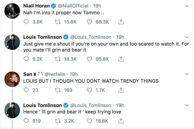 Louis Tomlinson and Niall Horan chat on Twitter