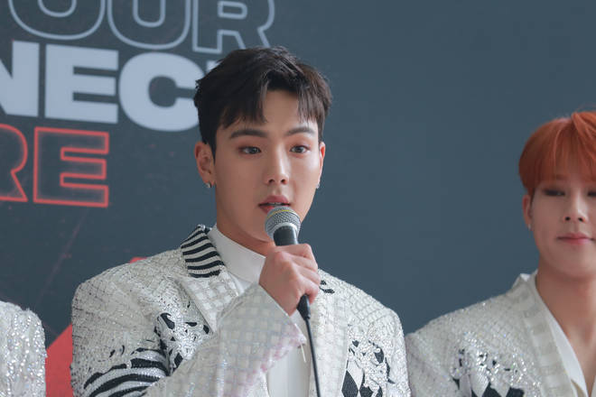 Shownu at the press conference of 2018 Monsta X World Tour 'The Connect'