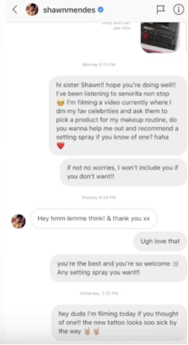 James Charles asks Shawn Mendes for make-up recommendations