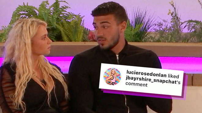 Love Island's Lucie liked a comment about Tommy Fury missing out on her