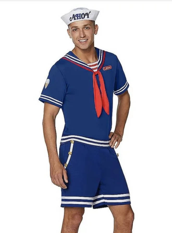 Chaps can also replicate Steve Harrington's look with this fetching Scoops Ahoy outfit