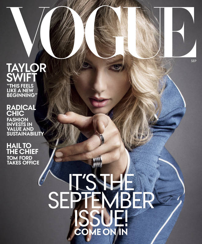 Taylor appears on the front cover of Vogue