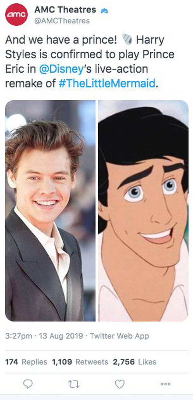 AMC Theatres posted about Harry Styles' casting as Prince Eric