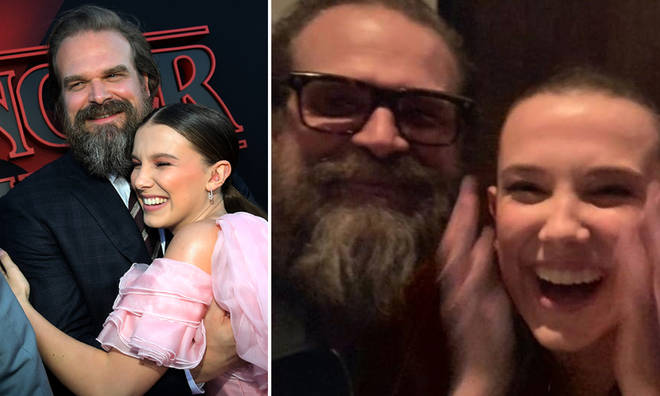 Millie Bobby Brown reunited with David Harbour