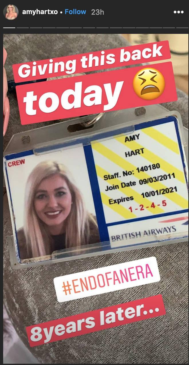 Amy Hart hands back her BA crew card