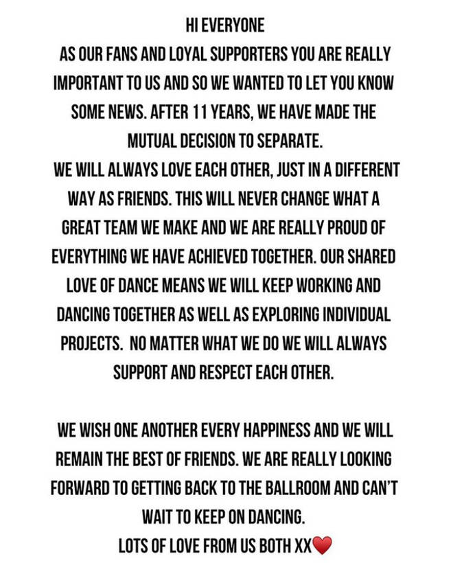 Neil and Katya shared this statement on their respective Instagram pages