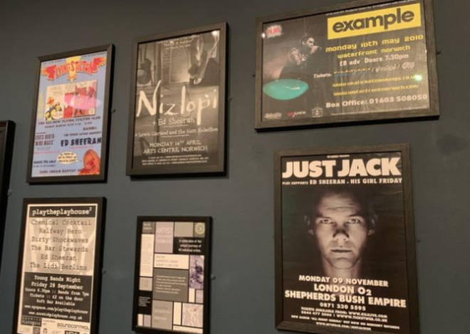 The posters include gigs with Just Jack and Example