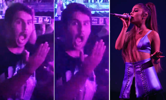 Fan cannot believe Ariana Grande touched his hand on tour